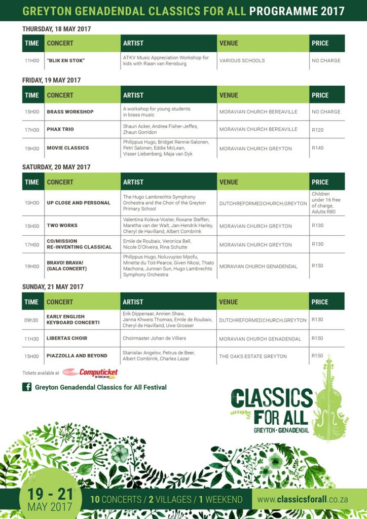 Greyton Genadendal Classics for All Festival 2017 program